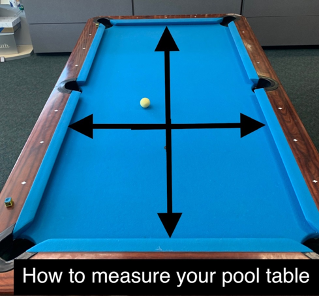 Arrows showing how to measure the playfield of a pool table.