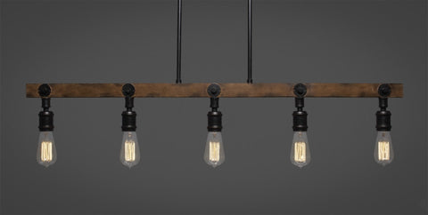 Portland 5 Light Island Bar With Amber Antique Bulbs (1135-AT18) - lights
