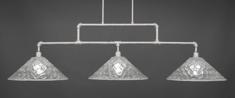 "Vintage 3 Light Bar In Aged Silver Finish With 16"" Italian Bubble Glass (333-AS-411) - lights"