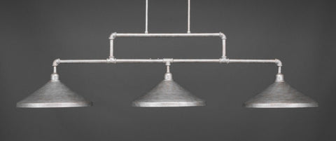 "Vintage 3 Light Bar In Aged Silver Finish With 14"" Aged Silver Cone Metal Shades (333-AS-422) - lights"