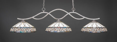 "Revo 3 Light Bar In Aged Silver Finish With 16"" Royal Merlot Tiffany Glass - lights"