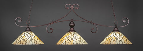 "Curl 3 Light Bar In Bronze Finish With 16"" Sandhill Tiffany Glass - lights"