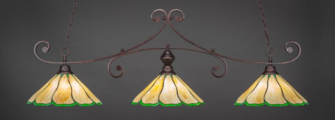 "Curl 3 Light Bar In Bronze Finish With 16"" Honey & Hunter Green Flair Tiffany Glass (353-BRZ-913) - lights"