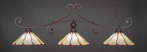 "Curl 3 Light Bar In Bronze Finish With 16"" Honey And Burgundy Flair Tiffany Glass (353-BRZ-916) - lights"