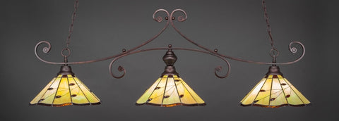 "Curl 3 Light Bar In Bronze Finish With 16"" Autumn Leaves Tiffany Glass (353-BRZ-926) - lights"