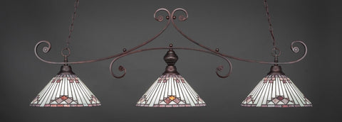 "Curl 3 Light Bar In Bronze Finish With 15"" Purple Sunray Tiffany Glass (353-BRZ-938) - lights"