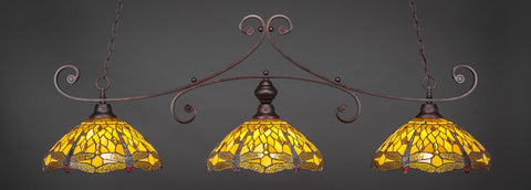 "Curl 3 Light Bar In Bronze Finish With 16"" Amber Dragonfly Tiffany Glass (353-BRZ-946) - lights"