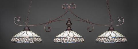 "Curl 3 Light Bar In Bronze Finish With 16"" Royal Merlot Tiffany Glass (353-BRZ-948) - lights"