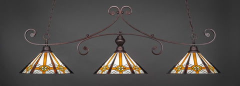 "Curl 3 Light Bar In Bronze Finish With 16"" Hampton Tiffany Glass - lights"