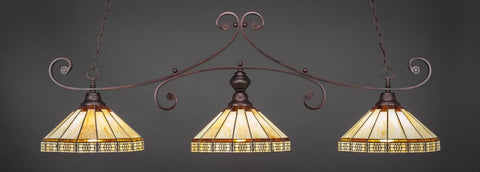 "Curl 3 Light Bar In Bronze Finish With 15"" Honey & Brown Mission Tiffany Glass - lights"