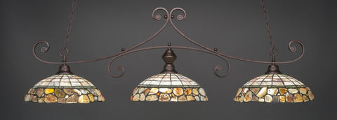 "Curl 3 Light Bar In Bronze Finish With 16"" Cobblestone Tiffany Glass (353-BRZ-973) - lights"