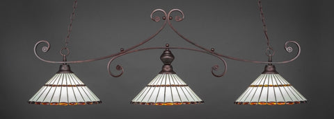 "Curl 3 Light Bar In Bronze Finish With 15.5"" Honey Glass & Amber Brown Jewels Tiffany Glass (353-BRZ-974) - lights"