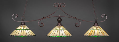 "Curl 3 Light Bar In Bronze Finish With 15.5"" Honey Glass & Green Jewels Tiffany Glass (353-BRZ-977) - lights"