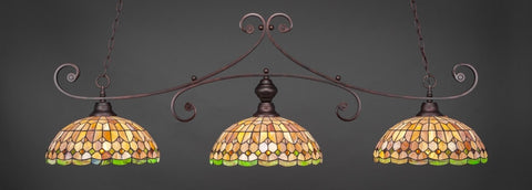 "Curl 3 Light Bar Shown In Bronze Finish With 15"" Rosetta Tiffany Glass - lights"