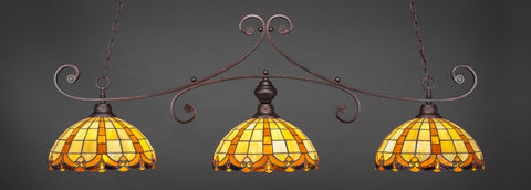 "Curl 3 Light Bar In Bronze Finish With 14.5"" Butterscotch Tiffany Glass - lights"