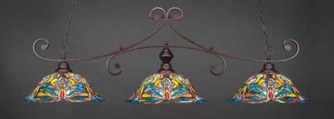 "Curl 3 Light Bar In Bronze Finish With 19"" Kaleidoscope Tiffany Glass (353-BRZ-990) - lights"