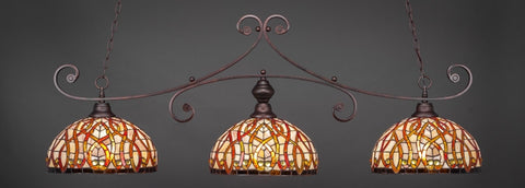 "Curl 3 Light Bar In Bronze Finish With 15"" Persian Nites Tiffany Glass - lights"
