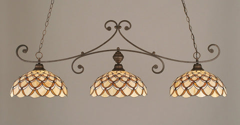 "Curl 3 Light Bar In Bronze Finish With 16"" Honey & Brown Scallop Tiffany Glass - lights"