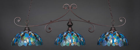 "Curl 3 Light Bar In Bronze Finish With 16"" Blue Mosaic Tiffany Glass (353-BRZ-995) - lights"