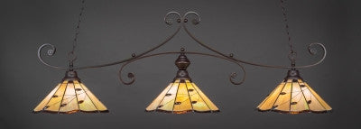 "Curl 3 Light Bar In Dark Granite Finish With 16"" Autumn Leaves Tiffany Glass (353-DG-926) - lights"