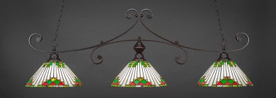 "Curl 3 Light Bar In Dark Granite Finish With 15"" Green Sunray Tiffany Glass (353-DG-937) - lights"