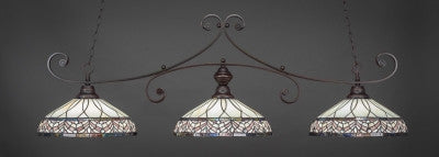 "Curl 3 Light Bar In Dark Granite Finish With 16"" Royal Merlot Tiffany Glass (353-DG-948) - lights"