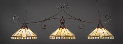 "Curl 3 Light Bar In Dark Granite Finish With 15"" Honey & Brown Mission Tiffany Glass (353-DG-964) - lights"