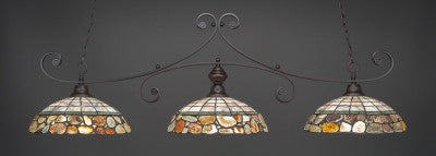 "Curl 3 Light Bar In Dark Granite Finish With 16"" Cobblestone Tiffany Glass (353-DG-973) - lights"
