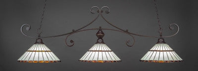 "Curl 3 Light Bar In Dark Granite Finish With 15.5"" Honey Glass & Amber Brown Jewels Tiffany Glass (353-DG-974) - lights"