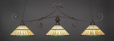 "Curl 3 Light Bar In Dark Granite Finish With 15.5"" Honey Glass & Green Jewels Tiffany Glass (353-DG-977) - lights"