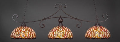 "Curl 3 Light Bar In Dark Granite Finish With 15"" Persian Nites Tiffany Glass (353-DG-991) - lights"