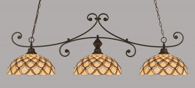 "Curl 3 Light Bar In Dark Granite Finish With 16"" Honey & Brown Scallop Tiffany Glass (353-DG-993) - lights"