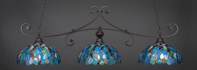 "Curl 3 Light Bar In Dark Granite Finish With 16"" Blue Mosaic Tiffany Glass (353-DG-995) - lights"