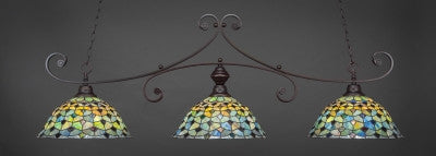 "Curl 3 Light Bar In Dark Granite Finish With 16"" Crescent Tiffany Glass (353-DG-996) - lights"