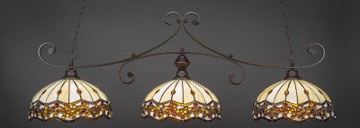 "Curl 3 Light Bar In Dark Granite Finish With 16"" Roman Jewel Tiffany Glass (353-DG-997) - lights"