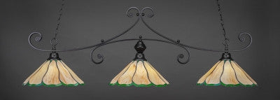 "Copy of Curl 3 Light Bar In Matte Black Finish With 16"" Honey & Hunter Green Flair Tiffany Glass (353-MB-913) - lights"
