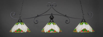 "Curl 3 Light Bar In Matte Black Finish With 15"" Green Sunray Tiffany Glass (353-MB-937) - lights"
