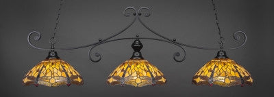"Copy of Curl 3 Light Bar In Matte Black Finish With 16"" Amber Dragonfly Tiffany Glass (353-MB-946) - lights"