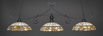 "Curl 3 Light Bar In Matte Black Finish With 16"" Cobblestone Tiffany Glass (353-MB-973) - lights"