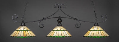 "Curl 3 Light Bar In Matte Black Finish With 15.5"" Honey Glass & Green Jewels Tiffany Glass (353-MB-977) - lights"