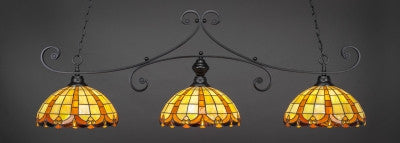 "Curl 3 Light Bar In Matte Black Finish With 14.5"" Butterscotch Tiffany Glass (353-MB-989) - lights"