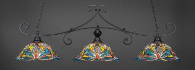 "Curl 3 Light Bar In Matte Black Finish With 19"" Kaleidoscope Tiffany Glass (353-MB-990) - lights"