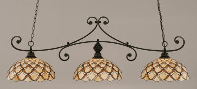 "Curl 3 Light Bar In Matte Black Finish With 16"" Honey & Brown Scallop Tiffany Glass (353-MB-993) - lights"