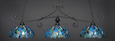 "Curl 3 Light Bar In Matte Black Finish With 16"" Blue Mosaic Tiffany Glass (353-MB-995) - lights"