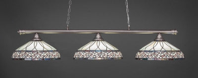 "Oxford 3 Light Bar In Brushed Nickel Finish With 16"" Royal Merlot Tiffany Glass (373-BN-948) - lights"