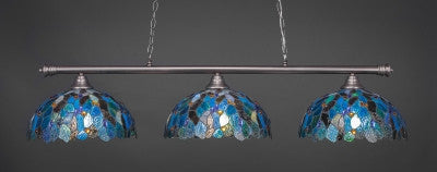 "Oxford 3 Light Bar In Brushed Nickel Finish With 16"" Blue Mosaic Tiffany Glass (373-BN-995) - lights"
