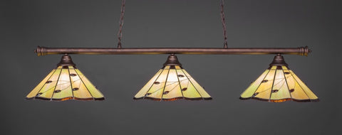 "Oxford 3 Light Bar In Bronze Finish With 16"" Autumn Leaves Tiffany Glass - lights"