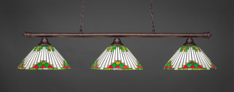 "Oxford 3 Light Bar In Bronze Finish With 15"" Green Sunray Tiffany Glass (373-BRZ-937) - lights"