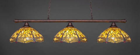 "Oxford 3 Light Bar In Bronze Finish With 16"" Amber Dragonfly Tiffany Glass - lights"