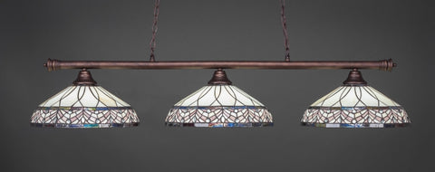 "Oxford 3 Light Bar In Bronze Finish With 16"" Royal Merlot Tiffany Glass (373-BRZ-948) - lights"